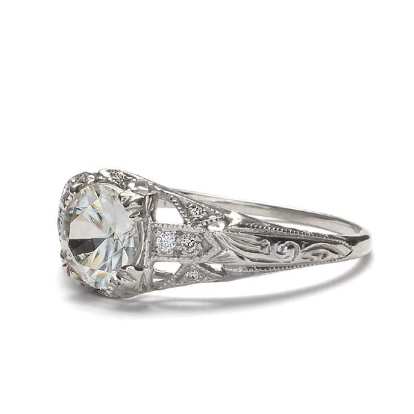 Replica art deco domed engagement ring #L1300 - Leigh Jay & Co.