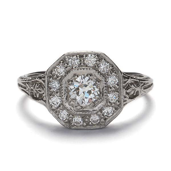 Replica art deco halo engagement ring #L1316 - Leigh Jay & Co.
