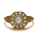 Replica art deco halo engagement ring #L1316