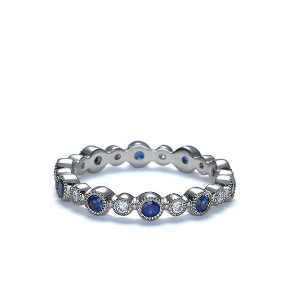 Sapphire and Diamond Eternity wedding band #L16873-SA