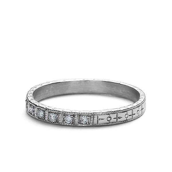 Replica Art Deco Diamond Wedding Band #L2251WB - Leigh Jay & Co.