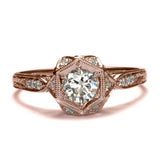 Replica art deco halo engagement ring #L2520 - Leigh Jay & Co.