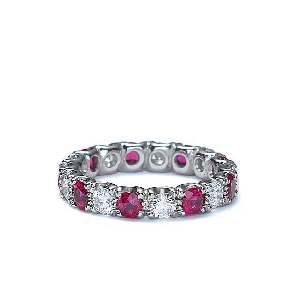 Platinum Diamond & Ruby Wedding Band #L2580R PLAT - Leigh Jay & Co.