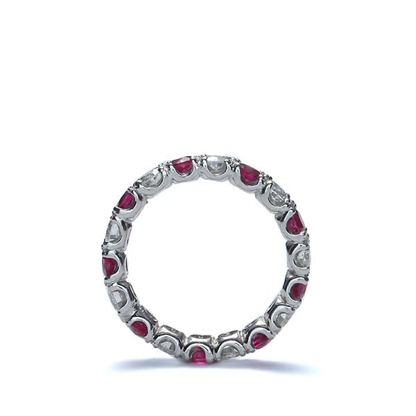 Platinum Diamond & Ruby Wedding Band #L2580R PLAT