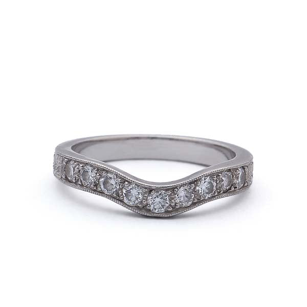 Contoured Diamond Wedding Band #L3012HE-PT - Leigh Jay & Co.