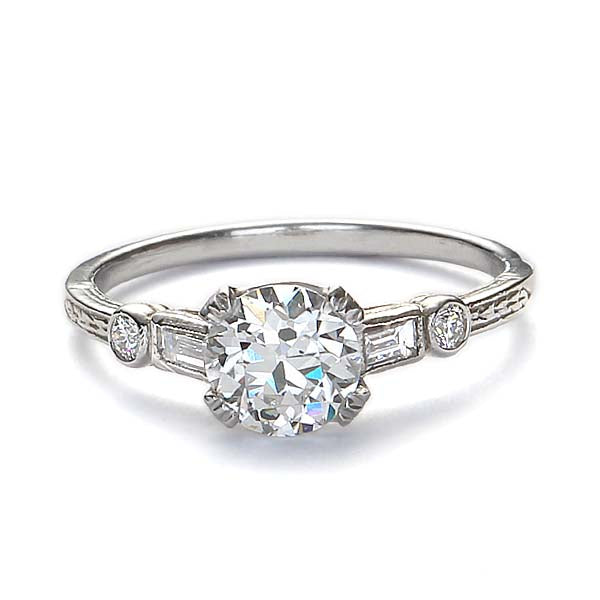 Replica art deco floral engagement ring. #L3050PTRD - Leigh Jay & Co.