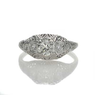 Replica art deco domed engagement ring #L3142 - Leigh Jay & Co.