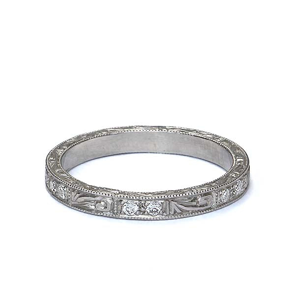 14k Wedding band with pattern of diamonds and swirl design #L3159WB 14K - Leigh Jay & Co.