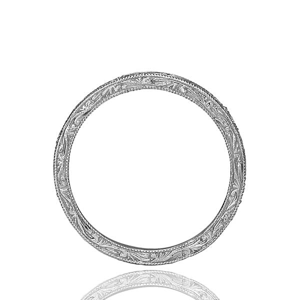 Platinum Wedding Band with  Diamonds and swirl  Design #L3159WB PT-1 - Leigh Jay & Co.