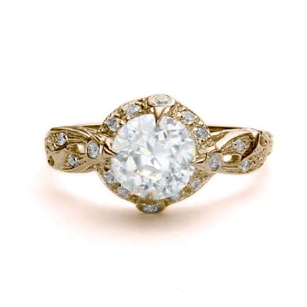Replica Edwardian halo engagement ring #L3211 - Leigh Jay & Co.