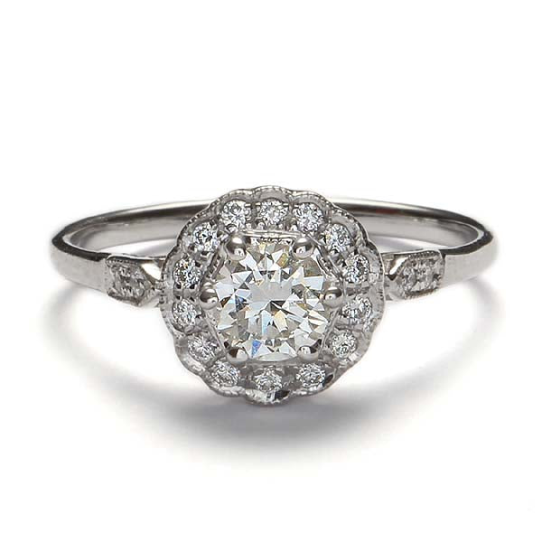 Replica Edwardian halo engagement ring #L3306 - Leigh Jay & Co.