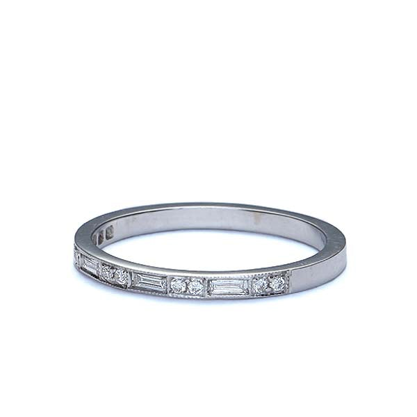 14k White Gold Wedding Band #L3313WBR18 - Leigh Jay & Co.