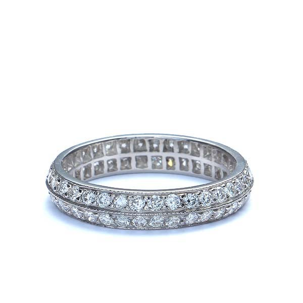 Replica 1930s double diamond row wedding band #L3331 PLAT