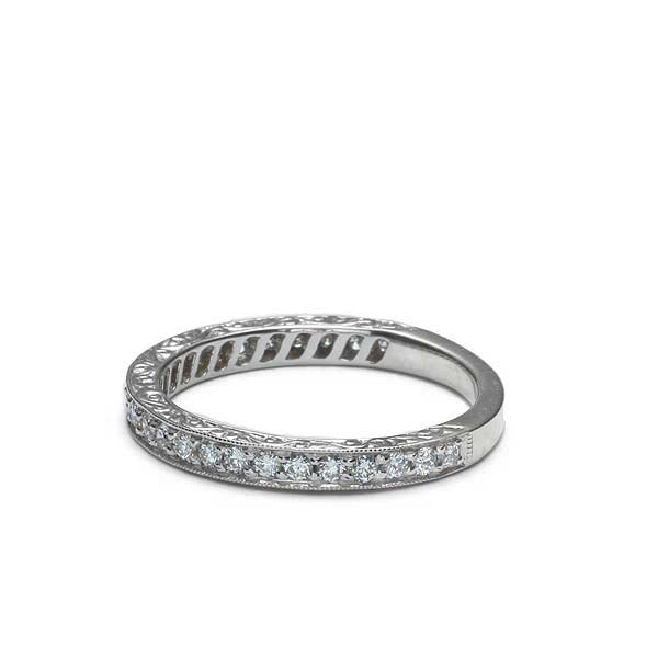 White Gold Replica Art Deco Diamond Wedding Band. #L3399WBPT - Leigh Jay & Co.