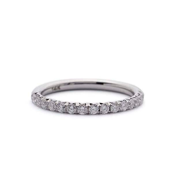 French pave Diamond Wedding Band #LE4002 - Leigh Jay & Co.