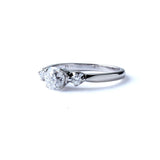 Midcentury Three Stone Engagement Ring #VR210325