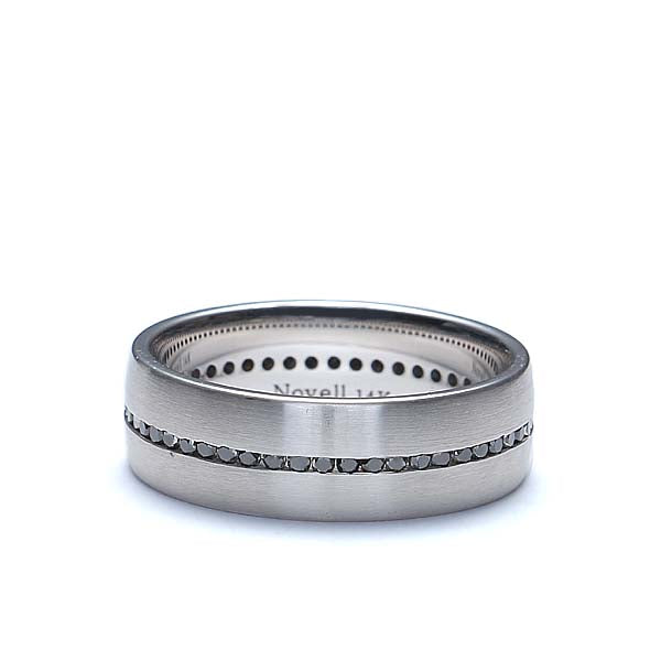 Gents Wedding band with Channel-set black diamonds' #ND01987-7 - Leigh Jay & Co.