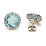 Checker-top Blue Topaz  Vermeil  Earrings #NE230-BT - Leigh Jay & Co.
