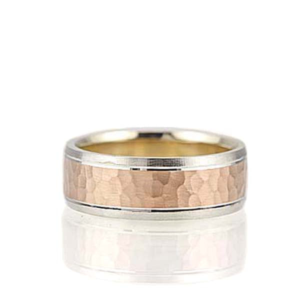 Hammered Center Gents ring' #NT16542-8 - Leigh Jay & Co.
