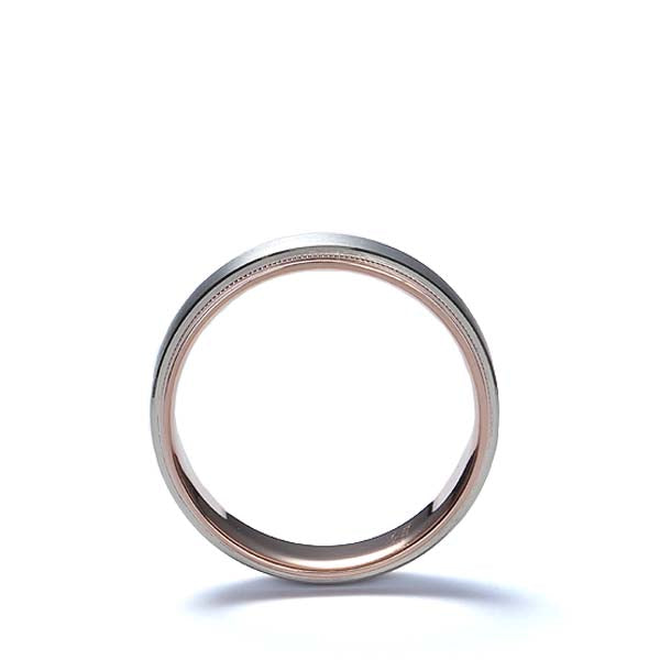 Two-Tone Millegraine edge wedding band #NT16705-7 - Leigh Jay & Co.
