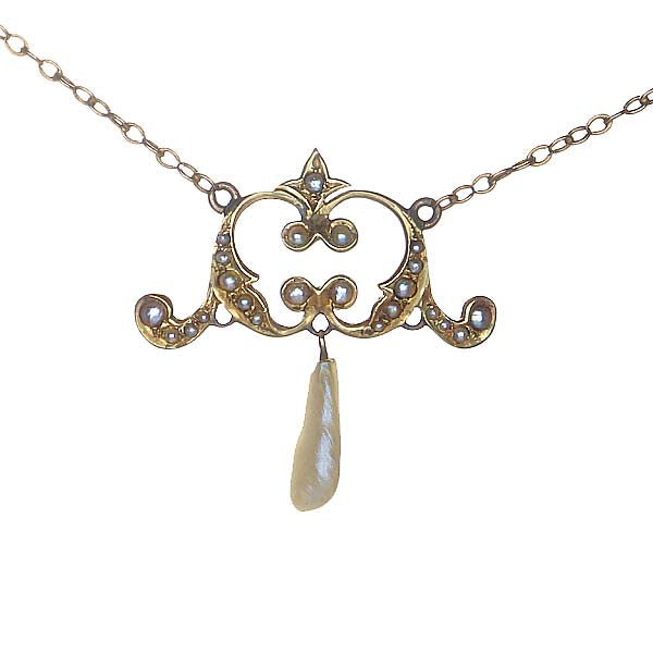 14K Yellow Gold Edwardian Pearl Necklace #P401-01 - Leigh Jay & Co.