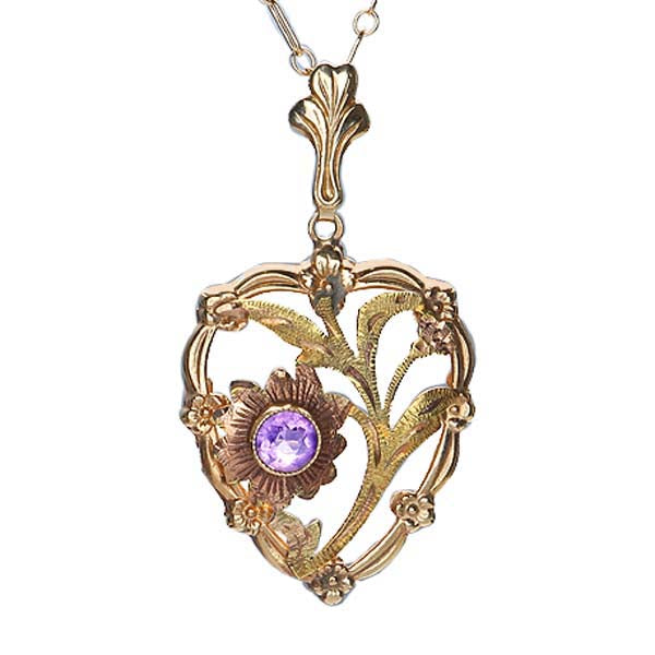Vintage Heart Pendant with Amethyst. #P402-03 - Leigh Jay & Co.