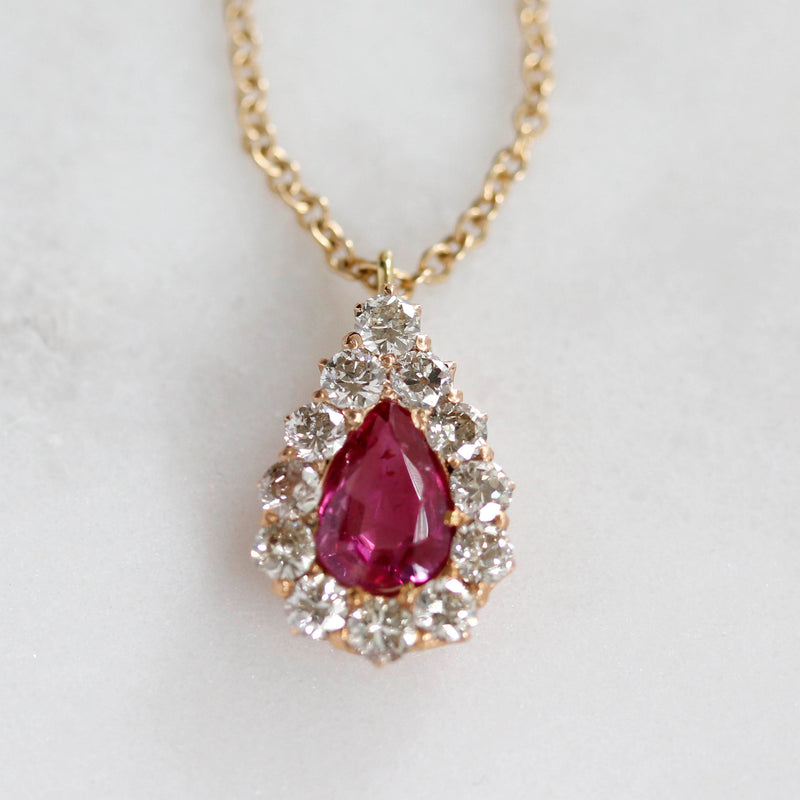 Antique Pink Sapphire and diamond cluster Necklace #VP1203D - Leigh Jay & Co.