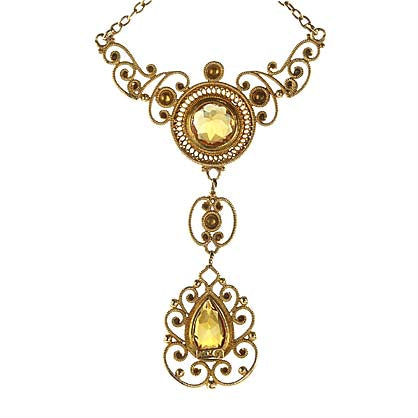 Vintage Canatille Citrine Necklace #PR567-01 - Leigh Jay & Co.
