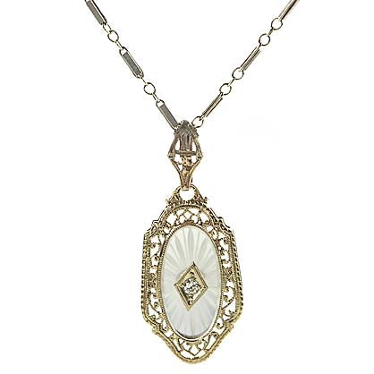 Art Deco Cut Crystal Pendant with Chain. #PR567-04 - Leigh Jay & Co.