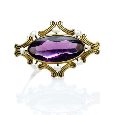Antique 10k gold pin with seed pearls and purple cabochon #Pin-05