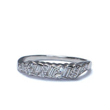 Circa 1950s baguette and round diamond wedding band.  14k white gold #R291-03 - Leigh Jay & Co.