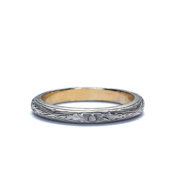 Antique Platinum and Gold Wedding Band. #R302-09 - Leigh Jay & Co.