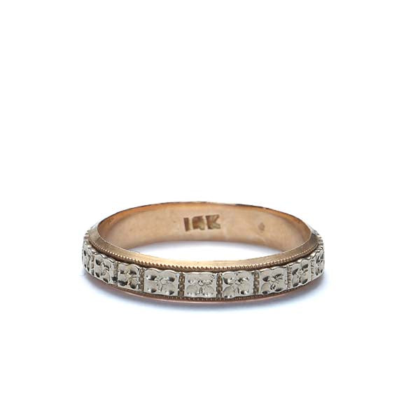 Vintage two tone wedding band. #R328-15 - Leigh Jay & Co.