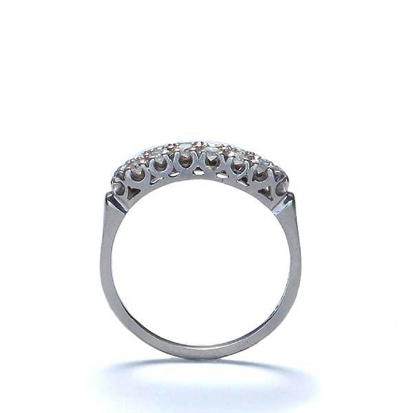 Vintage Platinum Wedding band with a double row of diamonds #R405-01 - Leigh Jay & Co.
