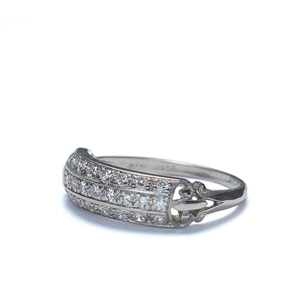 Art Deco Triple Row Diamond wedding band.  Platinum #R424-08 - Leigh Jay & Co.
