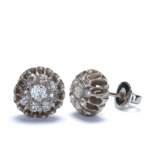 Vintage Diamond Cluster earrings in 14k white gold. #R424-13 - Leigh Jay & Co.