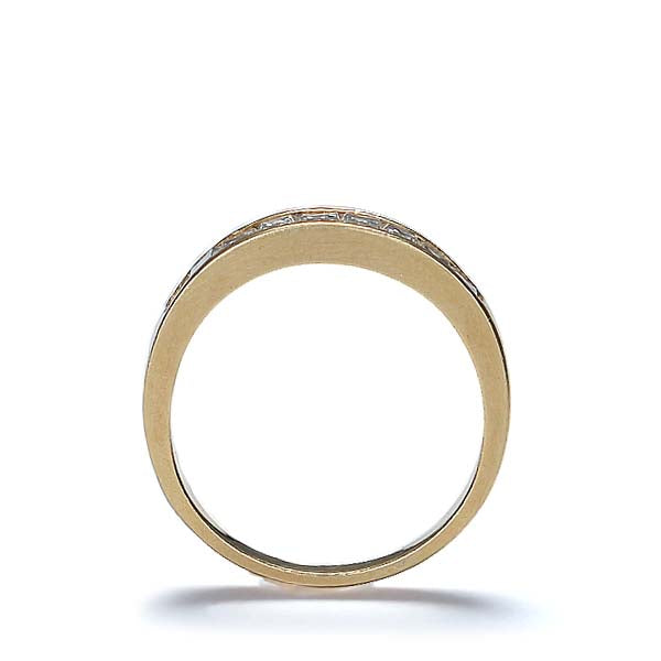 18K Yellow Gold wedding band with baguette diamonds #R430-01 - Leigh Jay & Co.