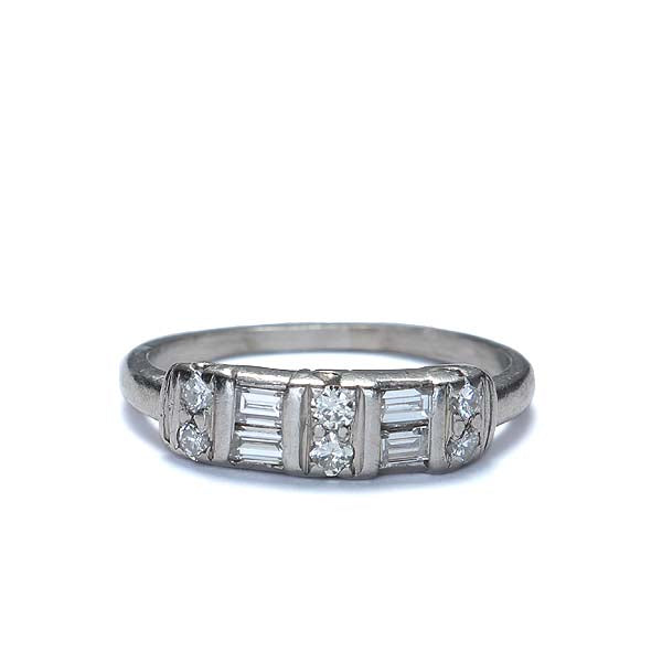 Baguette and round diamond ring circa 1950s.  Platinum #R439-04 - Leigh Jay & Co.