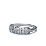 Baguette and round diamond ring circa 1950s.  Platinum #R439-04