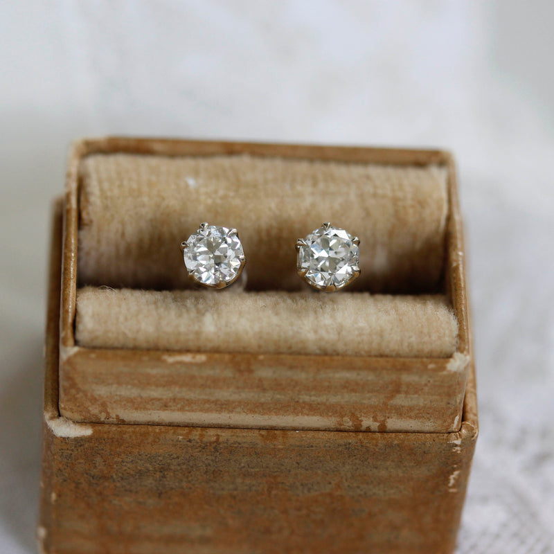 Old European Cut Diamond Stud Earrings #VER200717-3 - Leigh Jay & Co.