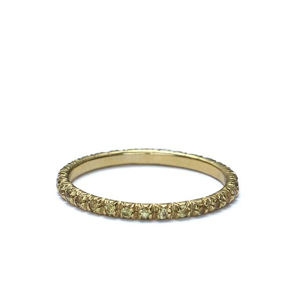 Contemporary Yellow Sapphire Eternity band in 18k yellow gold #Stack-01