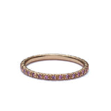 Contemporary Pink Sapphire Eternity band in 18k yellow gold #Stack-02 - Leigh Jay & Co.