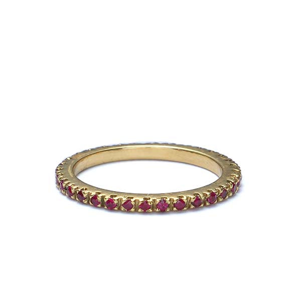 Contemporary Ruby Eternity band in 18k yellow gold #Stack-04 - Leigh Jay & Co.