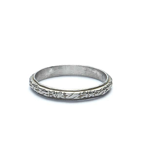 Platinum Art Deco Repousse Band #VB180111-4 - Leigh Jay & Co.