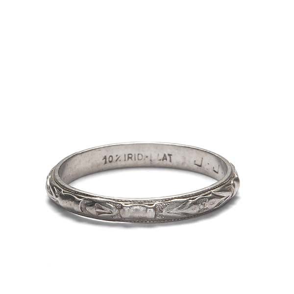 Art Deco Platinum Engraved Band #VB180117-3 - Leigh Jay & Co.
