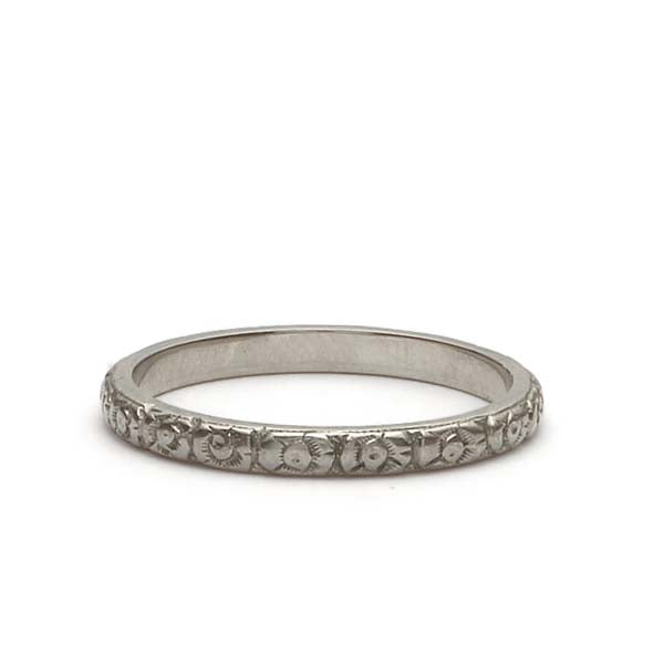 Art Deco Floral Wedding Band #VB180618-9 - Leigh Jay & Co.