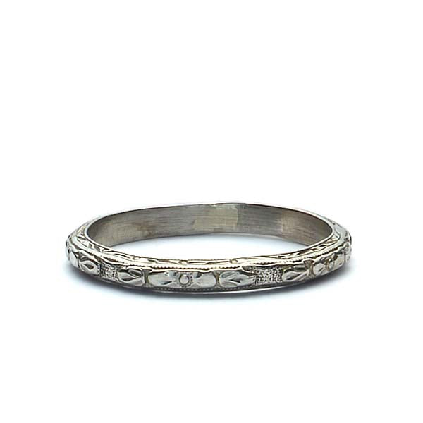 18k White Gold Art Deco Wedding Band #VB180813-3