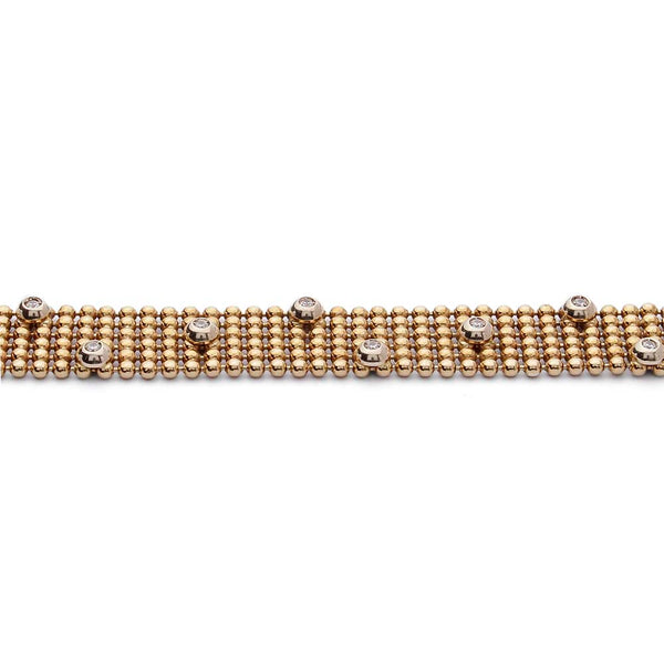 Estate Gold Mesh Bracelet with Diamonds #VB190710-5 - Leigh Jay & Co.