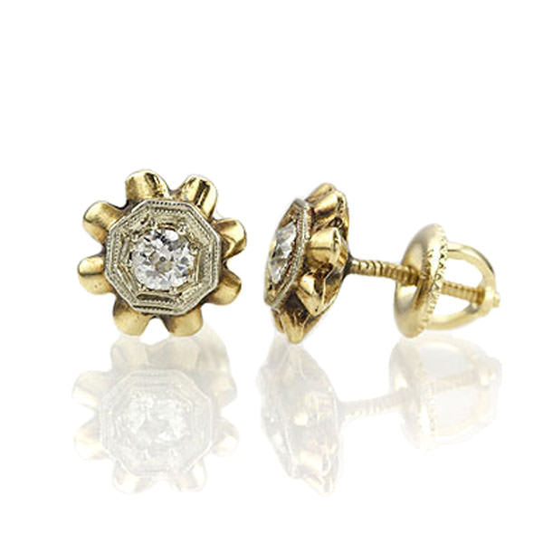 Art Deco Post Diamond Earrings. #VER140919-01 - Leigh Jay & Co.