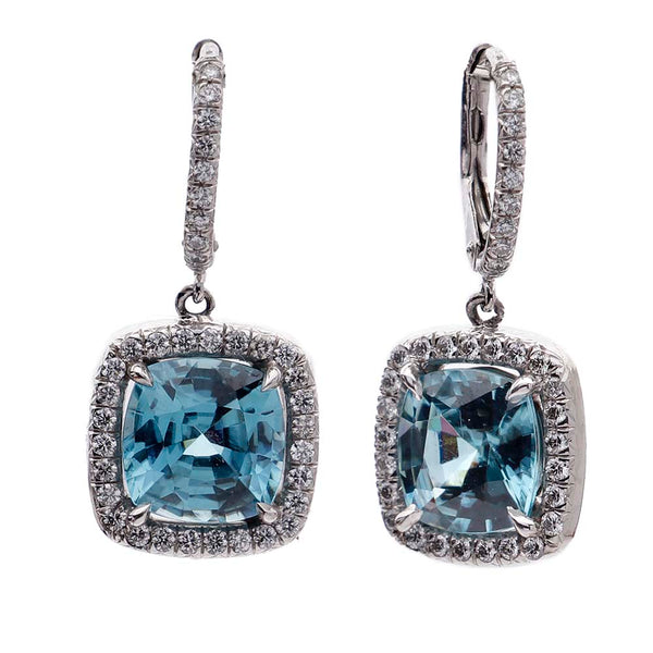 Blue Zircon Earrings with Diamond Halo #VER190710-l - Leigh Jay & Co.